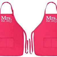 Wedding Shower Gift Mrs. Established 2015 Gay Lesbian Wedding 2 Pack Two Pocket Apron for Cooking Brides Heliconia