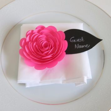 6 Awesome Neon Pink Rose Place Cards, Unicorn Theme Party, Chalkboard Leaf, Guest Name Tags