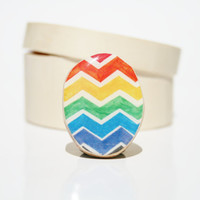 Rainbow Chevron ring eco fashion watercolor ring by starlightwoods