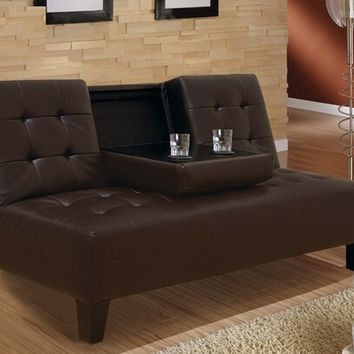 Black or Dark Brown bycast leather upholstered folding futon bed with center fold down arm and tufted seat and backs