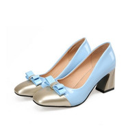 Knot Women Pumps Square Toe Patent Leather High Heels Shoes Woman