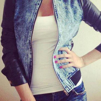 Faux Leather Long Sleeve Denim Jacket