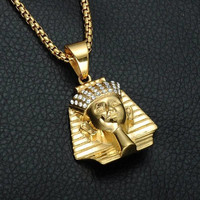 Ancient Egypt Pharaoh the king Pendant & Necklace Stainless Steel Titanium Necklaces Jewelry gold color
