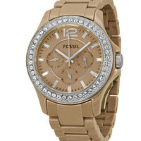 FOSSIL® Riley GMT Antique Pearl Ceramic Ladies Watch