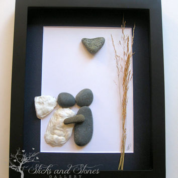 Personalized Pebble Art - Wedding Gift - Custom Engagement Presents - Wedding Art - Unique Wedding Gift -SticksnStone Pebble Art