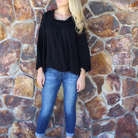 Long Sleeve Black High Low Peasant Blouse