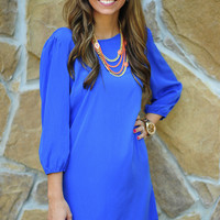 RESTOCK: Try Not To Smile Dress: Blue | Hope's