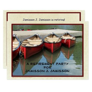 Retirement Party Invitation, Three Red Canoes Card