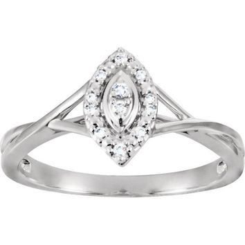 10K White Gold .06 CTW Diamond Muti Stone Marquise Style Halo Promise Ring
