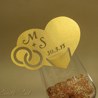 Gold place cards, gold heart escort card, personalized infinity rings place cards (20+) Golden wedding