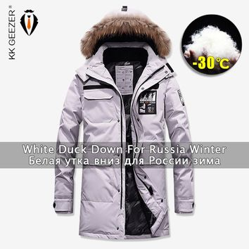 Winter Jackets Down Men Long Overcoat Duck 80% Parkas Business Windbreak Thick Coat Padded Parka Fashion Casual Brand Military