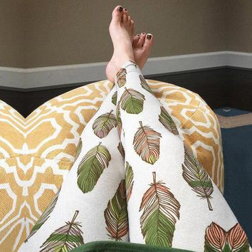 White and Green Leaf Print Yoga Pants