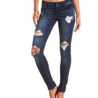 "Refuge ""Boyfriend"" Dark Wash Destroyed Jeans"