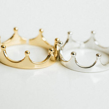 Silver Crown Ring, Gold Crown Ring, Princess Tiara Ring, Princess Ring, Midi Ring, Boho Ring, Statement Ring