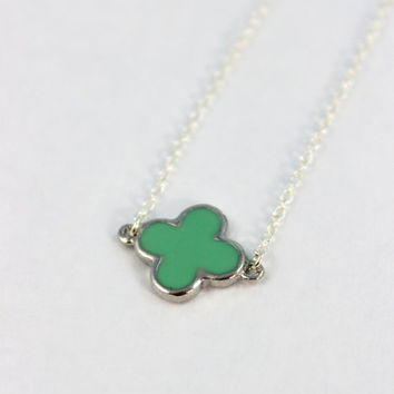 Clover Necklace Sterling Silver Turquoise Enamel Clovers Womens Girls Four Leaf Lucky Pendant Custom Necklaces