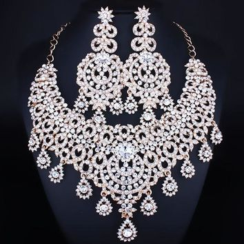Moroccan Style Statement Necklace Earrings Set Crystal Rhinestones Bridal Jewelry