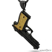 King Ice Black and Yellow CZ Gun Pendant - Premium Pendants - Pendants