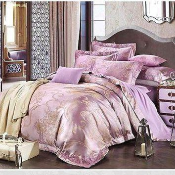 Luxury 4pc. Lilac Purple Satin Queen Jacquard 100%Cotton Duvet Cover Bedding Set