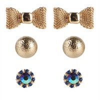 Set of 3 Stud Earrings with Mesh Bow and Stones