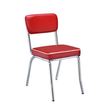 Coaster 2450R Set of 2 retro chrome finish dining chairs with red cushioned seats