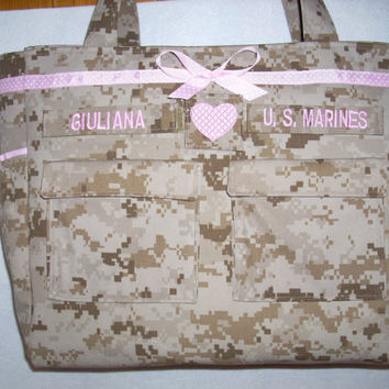 Diaper Bag in U S Marines camo made to order & customized for you.