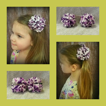 Purple White and Pink Pom Pom Barrettes (bow, soft, clip, large, hair, poof, ball, 2)