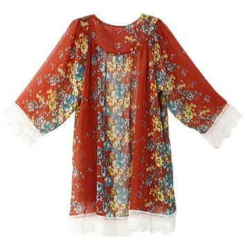 European Fringed Hem Lace Women Blouses Floral Printed Oversized Cape Kimono Cardigan Tops New Arrival