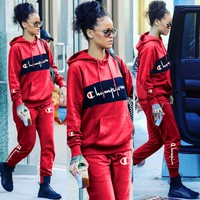 Red Womens Stylish CHAMPION Two Pieces Hoodies Pants Sportswears