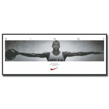NICOLESHENTING Michael Jordan Wings Basketball Art Silk Fabric Poster Print 13x33 inch Wall Picture Home Room Decoration 026