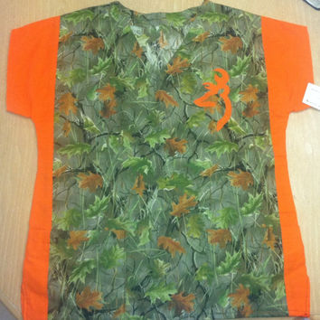 Green and orange camo browning medical dental vet scrub top