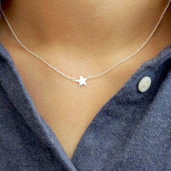 Silver Star Necklace, Tiny Star Necklace, Star Necklace, Small Star Necklace, Dainty Star Necklace, Sterling Silver Necklace