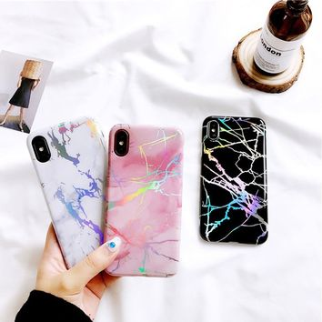 Fashion Trendy Colorful Laser Marble Phone Case Casual All-match Soft TPU Granite Texture Back Cover for IPhone X 6 6s 7 8 Plus