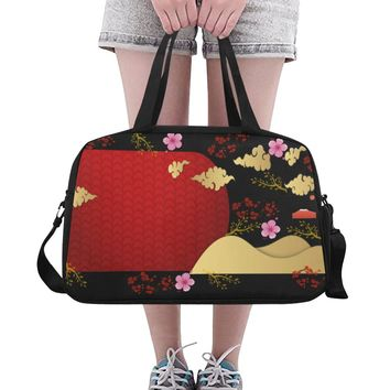 Red Cherry Blossoms Crossbody Travel Bag