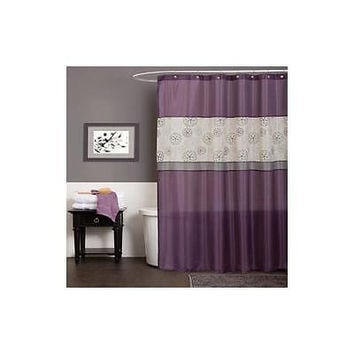 "Lush Decor Covina Purple Shower Curtain 72"" X 72"""