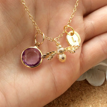 ON SALE Gold bumble bee Necklace, custom initial, birthstone necklace, Sisters Jewellery,Gift Idea, Initials, Eternity Circles