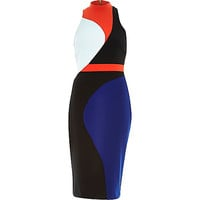 River Island Womens Black color block bodycon pencil dress