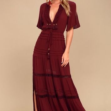 Santa Fe Sway Burgundy Crochet Maxi Dress