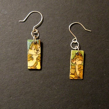 Disney Recycled Chip and Dale Comic Book Earrings Decoupage