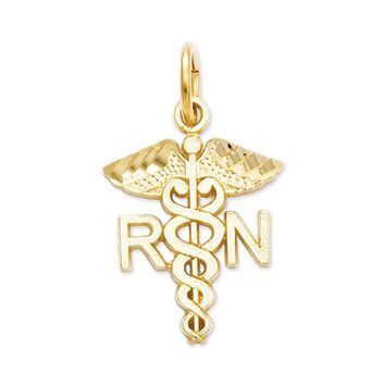 14k Yellow Gold Diamond Cut RN Caduceus Charm