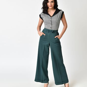 Banned 1940s Style Teal Green High Waist Anika Pants