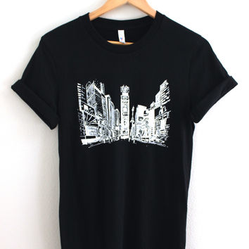 New York Times Square Black Graphic Unisex Tee
