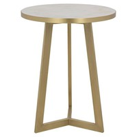 Side Table, White Stone, Antique Brass Finish
