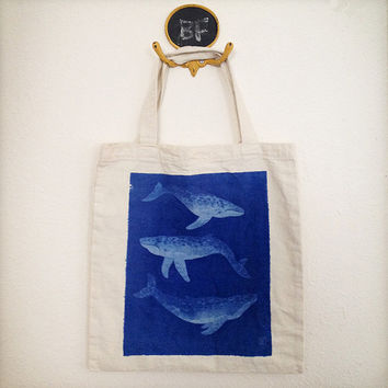 Hand Printed Blue Whale Inkodye canvas tote from watercolor painting