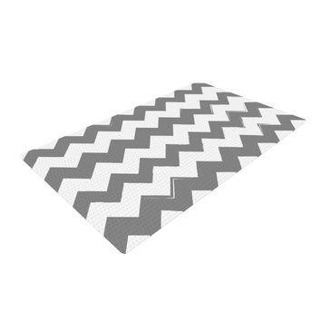 "KESS Original ""Candy Cane Gray"" Chevron Woven Area Rug"