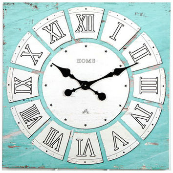 AQUA Vintage Wall Clock On Canva 24x24 Inches