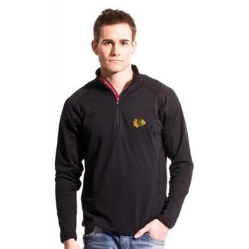 Levelwear Chicago Blackhawks Metro Quarter Zip Pullover Jacket - Black