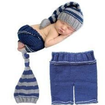 Newborn Boys Girls Baby Crochet Knit Costume Photography Photo Props Hat Outfit 0-12 Months [8789878599]