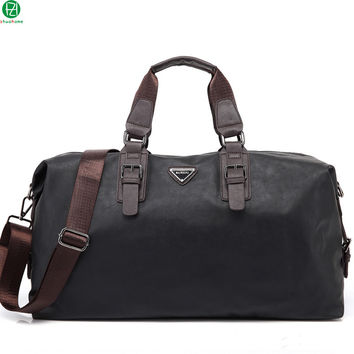 2017 Leather Travel Bag Men Big Tote Vintage Large Black crossbody bags Handbags Business Luggage Man's shoulder duffel bags