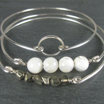 Silver Mother of Pearl Bracelet Set - Silver Bangle Bracelet Set - Silver thin Bracelet - Grey Jewelry - Gray Jewelry - Silver - Silver Chic