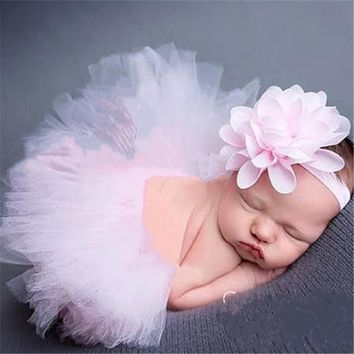 Lovely Girls Tutu Skirt Headband Set Newborn Photography Props Baby Studio Photoshoot Costume Hair Band Accessories